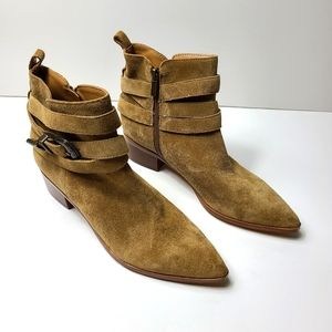 NEW MARC FISHER LTD yandi taupe suede leather boot